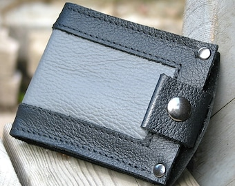 Men's Leather Wallet - Slim Jim Bifold Money Clip --- Gray Inlay in Black