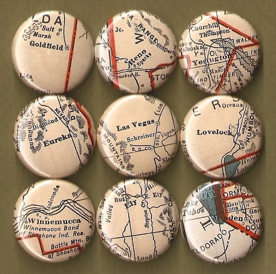 One Inch Magnet Set - Nevada Map - One-of-a-kind Set