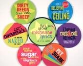 Misheard Lyrics coaster set FUNNY wrong pop culture ROCK roll 6 six coasters in matching tin