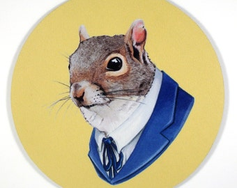 Mr Business Squirrel so Cute Mouse Pad art by the Ryan Berkley Illustration oh yeah mousepad gifts under 20