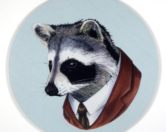 Raccoon means Business office desk Mouse Pad art by the Ryan Berkley Illustration oh yeah mousepad gifts under 20