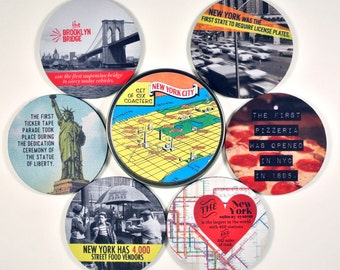 New York fun Facts coaster set NYC new york city brooklyn bridge subway Statue of Liberty gifts under 20 hostess gift history trivia lovers