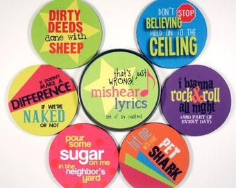 Misheard Lyrics coaster set FUNNY coasters MUSIC journey bon jovi acdc kiss def leppard benatar Hostess Gifts Under 20 conversation starter