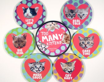 Too Many Kittens coaster set Crazy cats all weirdos HEARTS love MeOw 6 six coasters in matching tin