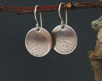 Silver Hydrangea Earrings, Pressed and Preserved Nature Jewelry