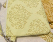BRIDAL WEDDING CLUTCH, gift pouch, 2 pockets, bridesmaids, handmade,- Park fountains yellow