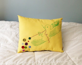 The Button Collector no. 83, Button Bird Pillow, sewing bird pillow, one of a kind cushion, button collection