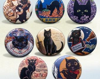Black Cat Vintage Art & Advertisements badges Set of 8 buttons pinback badges
