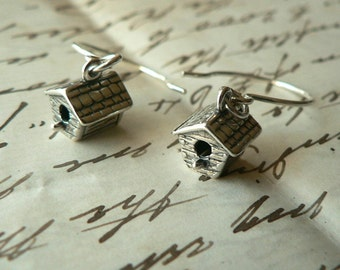 Tiniest Birdhouse sterling silver earrings French hoops