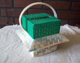 Basket Plastic Canvas Tissue Cover