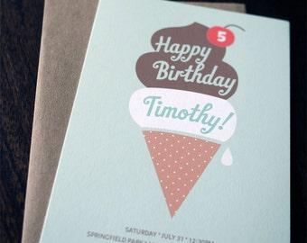 Personalized Ice Cream Birthday Invitation Set (20)