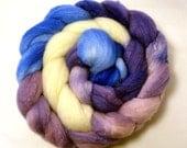 Handdyed Merino Wool/Tussah Silk Roving - Miranda - blue, purple, white