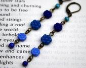Blue Flowers long glass bead earrings