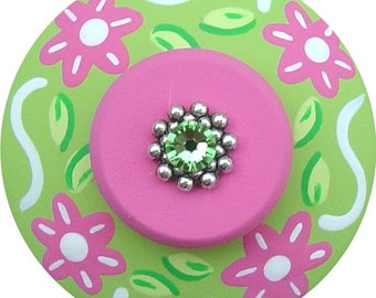 Pink and Green FLOWERS Swarovski Crystal Jeweled Hand Painted Wood Decorative Floral Dresser Colorful Kids Girls Nursery Drawer Pulls Knobs