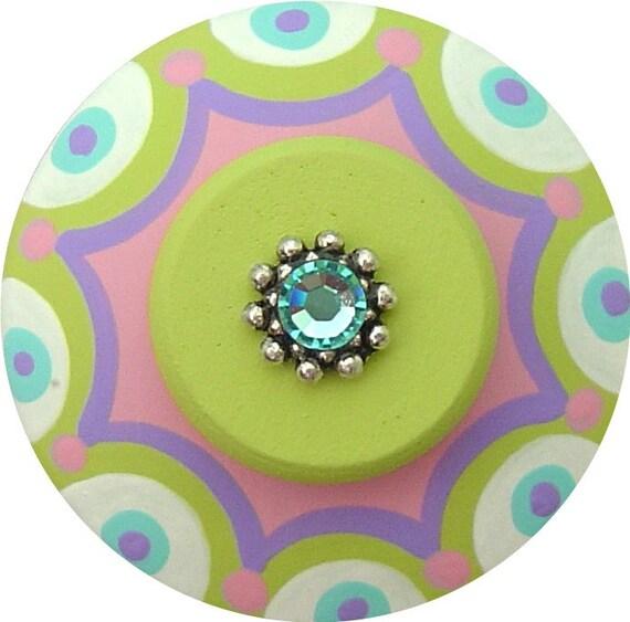 Pruple Aqua Pink Green Scallop Dots Swarovski Crystal Jeweled HandPainted Wood Dresser Decorative Kids Children Girls Nursery Drawer Knobs
