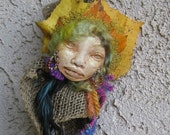 Equinox Moon, Figurative Sculpture, Assemblage mixed media Art Doll by Griselda