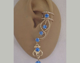 Sapphire Rhinestone - 99C - single ear cuff for right or left ear