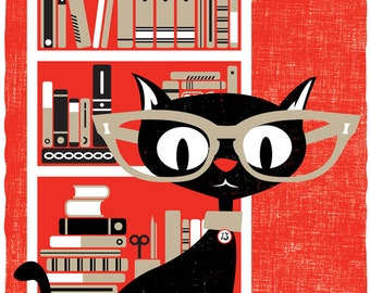 Black Cat Art Print Screenprint Bookworm Poster Black Cat Lucky 13 - Silkscreen Art Modern Cat Print Book Lover Cat Lover Wall Decor