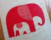 Birch Print Red Elephant Design Wall Art