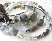 gypsy bangle stack - tribal assemblage - grey silver crystal - wire wrapped - labradorite - bellydance - rhinestone - victorian