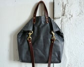 autumn soft tote in slate and cherry