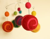 Felted Wool Mobile - Eco Friendly Baby - Natural Wool - Baby Mobile - Baby Nursery - Lollypops