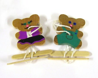 Hand-Painted Baby Bear Spin Toy Couple - OOAK - With Handles