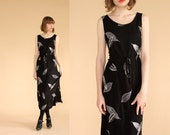 vintage 90's PALE LEAF illustration print black rayon maxi dress