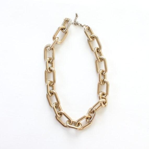 vintage 1980's GOLD CHAIN oversize link necklace