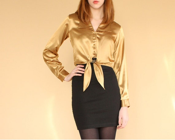 Items similar to vintage gold crop top / liquid gold satin blouse ...
