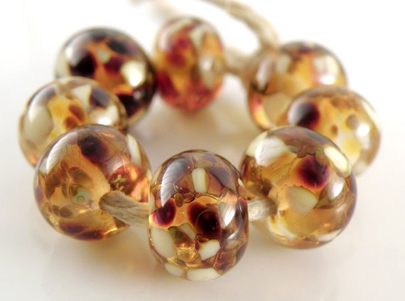 Creme Brulee - Handmade Artisan Lampwork Glass Beads 8mmx12mm - Gold, Auburn, Amber, Cream - SRA (Set of 8 Beads)