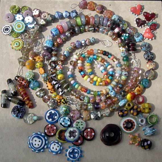 HUGE Orphan Lot of Handmade Lampwork Glass Beads  - 279 Beads - SRA