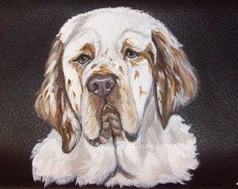 Clumber Spaniel Dog Custom Hand Painted Ladies Leather Wallet Purse