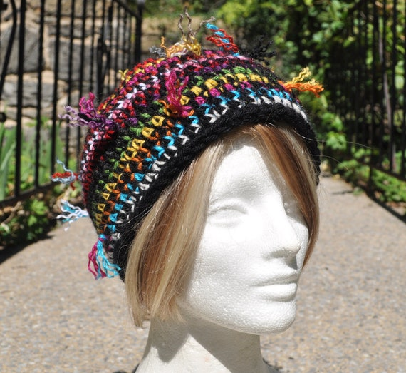 Scrappy Ends Crocheted Hat for Adult or Teen - Skullcap - Colorful Beanie Hat - Women's Accessories