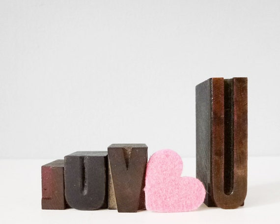luv u love you letterpress type wood blocks romantic home decor collectible decoration