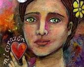 Mixed Media painting   Flower Lady Heart Acrylics Original Art