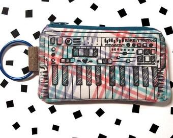 Keyboard Zipper Pouch w/Detachable Ring- Pastel Plaid