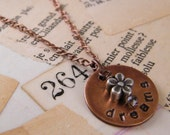 Copper DREAMS charm necklace hand-stamped with flower accent