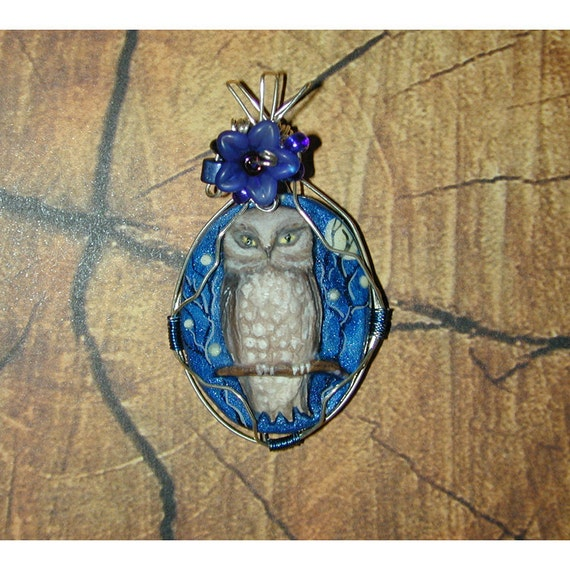 Stunning Handpainted Cameo Northern Pygmy Owl Full Moon Pendant