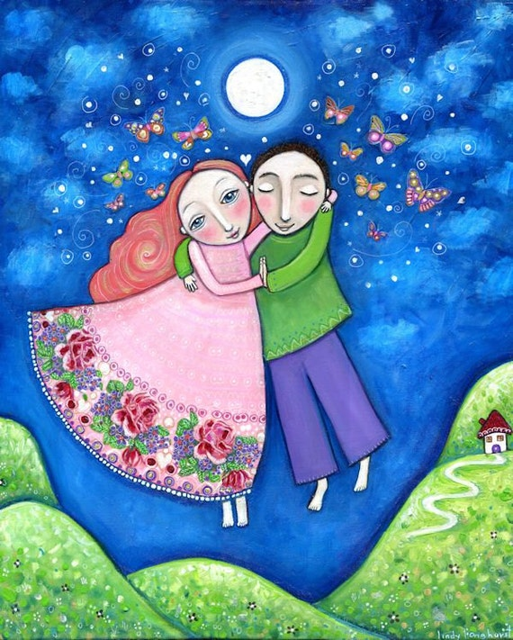 Couple art print dance lovers wedding gift engagement present whimsical folk art painting butterflies new love boy and girls room - 'Dance'
