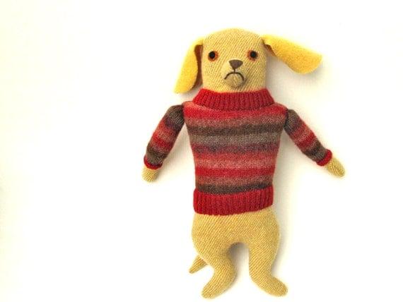 Yellow Boy Dog wool doll