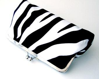Kisslock Frame Clutch Black and White Zebra Stripes Animal Print Bridesmaid Bride Wedding Gifts Bridal