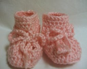 3 to 6 months size crocheted Pink baby booties
