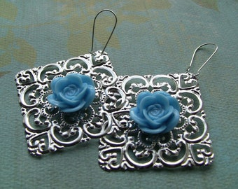Light blue rose and filigree earrings