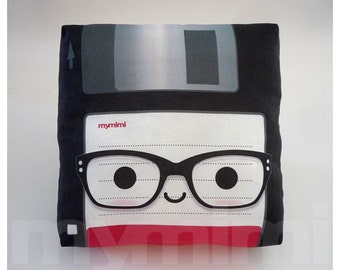 Retro Pillow, Nerd Floppy Disk, Nerdy, Geekery, 80's, Retro, Techie, Cotton Pillow, Throw Pillow, Room Decor, Office Decor, Cushion, 7 x 7""
