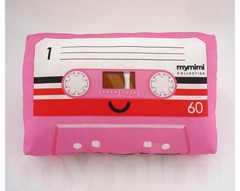 "Decorative Pillow, Cassette Tape Pillow, Pink Theme, Vintage, Retro, Old School, 80's, Geekery, Room Decor, Dorm Decor, Toys, 9 x 6"""