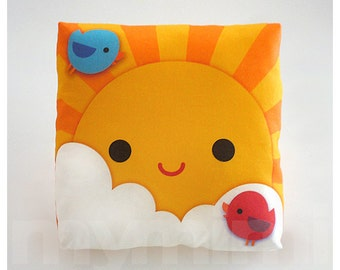 "Decorative Pillow, My Little Sunshine, Throw Pillow, Kids Cushion, Kawaii, Room Decor, Nursery Decor, Baby Shower, Gift Basket, Toys, 7 x 7"""