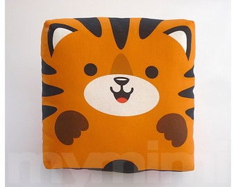 Stuffed Animal, Tiger Pillow, Jungle Animal, Throw Pillow, Kawaii Animal, Orange Pillow, Baby Shower, Nursery, Kids Room Decor, Dorm, 7 x 7""