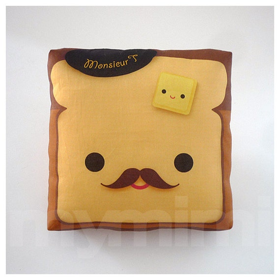 Brown Pillow, Toast Pillow, Food Pillow, Movember, Kawaii Print, Toy Pillow, Home Office Decor, Kids Playroom Decor, Dorm Decor, 7 x 7""