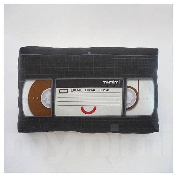 "Decorative Pillow, Video Pillow, VHS Tape, Video Tape, Vintage, Retro, Old School, 80's, Geekery, Room Decor, Dorm Decor, Toys, 9 x 6"""